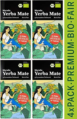 Marania® Yerba Mate Teebeutel Bio ● 60 x Premium Pyramiden Mate Tee Beutel ● Grüne Teeblätter ● Natürlicher Energy Drink mit Koffein ● Matetee Erva Mate Grüner Tee Beutel Guarana Tee Guayusa Tee