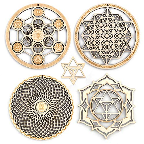 5.31' Sacred Geometry Wall Art 4 PCS Set, (Metatron Cube with...