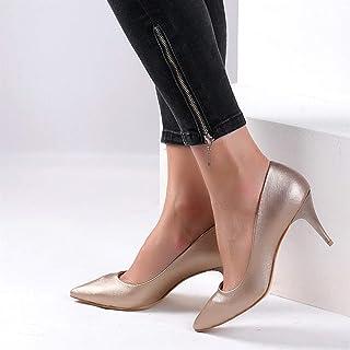 Pembe Potin Bakır Kadın Klasik Topuklu Ayakkabı