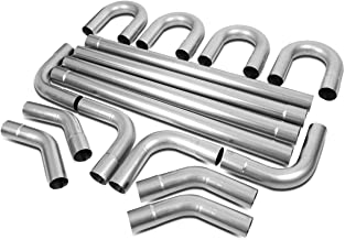 3 Inches OD DIY Custom Exhaust Pipe Kit 16-Piecese Straight & 45/90 Degree & U-Bends