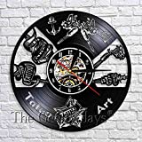 wtnhz LED-Tattoo Shop Wall Sigh Art Deco Reloj Negro Colgante Disco de Vinilo Reloj de Pared Reloj 3D Idea Tatuador