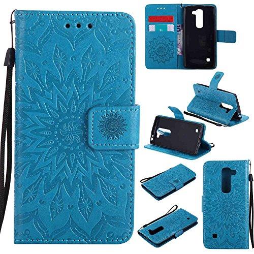 pinlu® PU Leder Tasche Etui Schutzhülle für LG Spirit 4G LTE (4.7 Zoll) Lederhülle Schale Flip Cover Tasche mit Standfunktion Sonnenblume Muster Hülle (Blau)