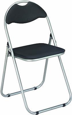 Haku Möbel - Set di 6 sedie pieghevole in PVC e gambe in acciaio, colore: Nero/Alluminio