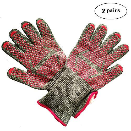 YXLAMP Hitzefeste BBQ Handschuhe Silikon Ofenhandschuh Grillhandschuhe für BBQ Kochen Backen und Schweißen, 2 Paare