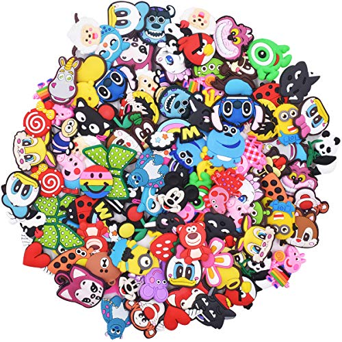 100 Pcs Different PVC Shoe Charms, Different Shoe Charms,Cartoon Shoe Charms,for Croc Shoes & Bracelet Wristband Kids Party Birthday Gifts