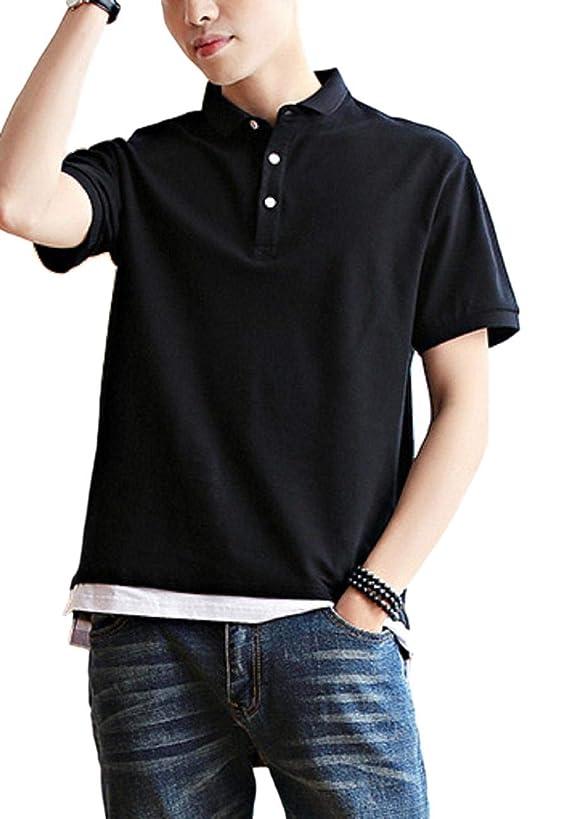 テクニカル断片請求書[ラルジュアルブル] ポロシャツ カラー カットソー 襟付き Tシャツ インナー アウター かっこいい シンプル カジュアル トップス