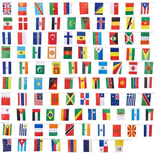 Länderflaggen von Juvale (100 Stück) – Flaggen von 100 Ländern der Welt - Als Multikulti-Party-Dekoration, zur Fußball-WM oder -EM - Polyester, Sortierte Farben - Je 13,2 cm x 23,4cm, Länge 23,4 m