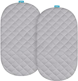 Bassinet Mattress Pad Cover Compatible with SNOO Smart Sleeper Baby Bassinet, 2 Pack, Waterproof Quilted Ultra Soft Bamboo...
