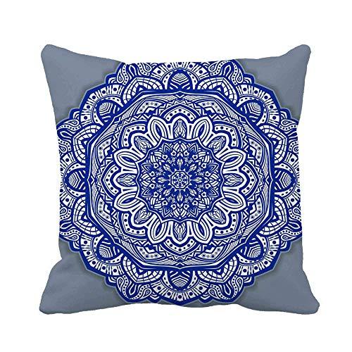 GOSMAO Funda de Almohada Flor Gzhel Redonda Mandala Indigo Azul Line y Blanco Algodón Lino Throw Pillow Case Funda de Almohada para Cojín 45x45 cm