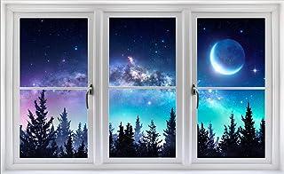 "48"" Window Scape Milky Way Aurora 3D Window Wall Decal Sticker Galaxy Mural Self Adhesive Removable Vinyl Night Sky Stars ..."