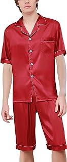 Pijamas para Hombre Satén, Hombre Parejas Primavera Verano Camisones Pijamas de Parejas Ropa de Dormir, Collar con Bolsillo con Botones