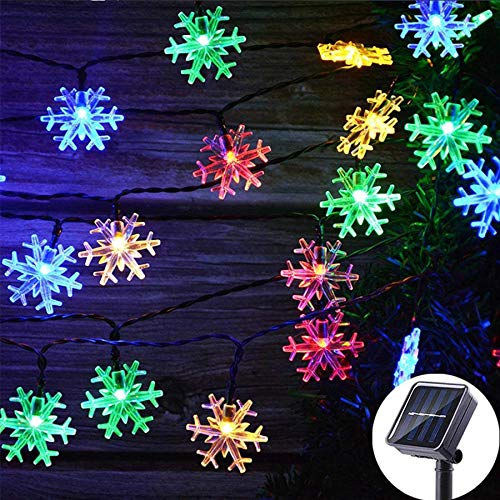 SNOMYRS Solar String Lights Outdoor 50Led 22.9 Ft Solar Snowflake Decorations Lights with 8 Lighting Modes for Garden Yard Home Porch Party Decor (Multicolor)