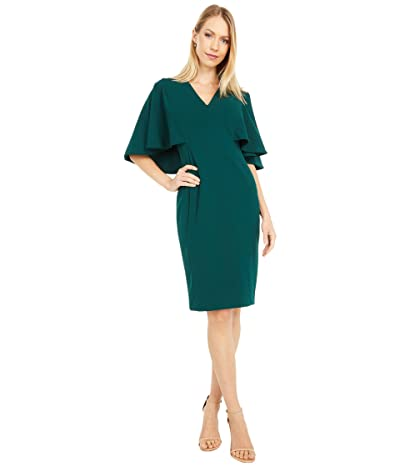 Calvin Klein V-Neck Sheath Dress with Cape Back (Malachite) Women