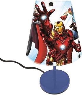 Lexibook- Lampe de Chevet Avengers Captain America, lumière Douce avec Abat-Jour Chambre Enfants, Décoration Lumineuse Cou...