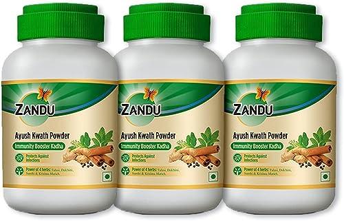 Zandu Ayush Kwath Powder Kadha A Traditional Ayurvedic Recipe Helps in Boosting Immunity Cough Cold Relief Antibacterial Antiviral Properties 100 Gm Pack x 3