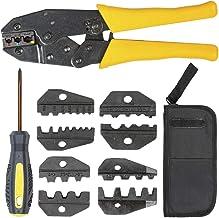 tectake 401636 Geisoleerde krimptang kabelschoen tang met 5 inzetstukken Set