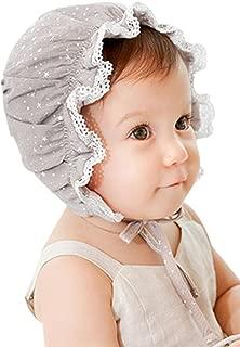 Little Girls Kids Babysbreath Flouncing Cotton Sun Hat Bonnet with Chin Strap