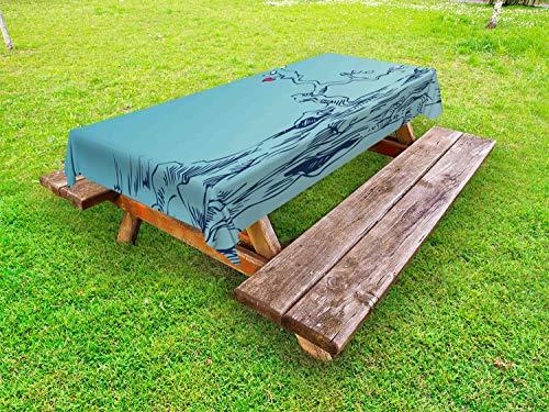 ABAKUHAUS Natur Outdoor-Tischdecke, Baum mit Herz-Blättern, dekorative waschbare Picknick-Tischdecke, 145 x 305 cm, Türkis