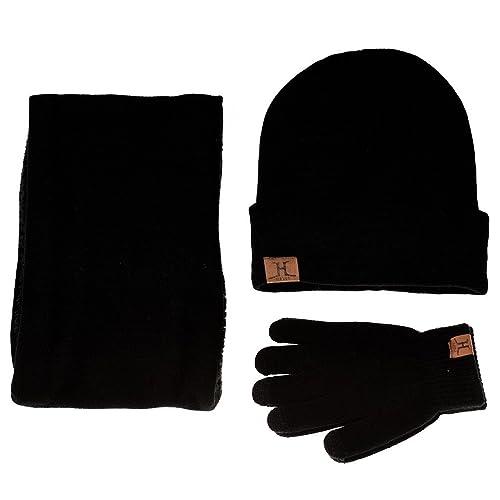 de99dc2e692 Winter Warm Beanie Hat + Scarf + Touch Screen Gloves