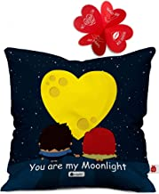 Indigifts indibni Micro Satin and Fibre Valentine Moonlight Cushion Cover with Filler (Dark Blue, 12x12inch)
