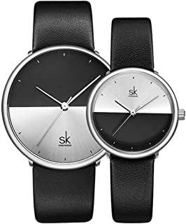SHENGKE His Hers Couple Watch Gift Set,Valentines Romantic Lovers Watch for Man Woman Leather Strap,Set of 2