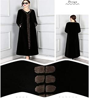 Winter Long Natural Real Fur Coat Women Color Block Thick Floor Length Womens Shearling Coat Sheep Fur Coat Brown XXXXL