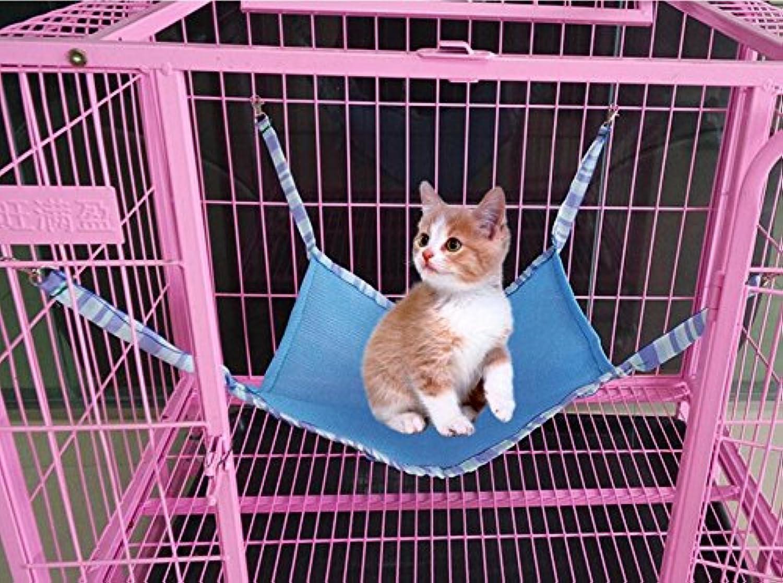 Comfortable and Warm Summer Breathable Sandwich Mesh Pet Cat Ferrets Hammock Swing Mat(Skybluee L)