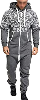 Sodossny-AU Men's Stylish Running Jumpsuits Workout Jogger Printing Zipper Tracksuits