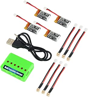 4pcs 1S 3.7V 220mAh LiPo Battery 35C with 6 in 1 Charger and Cable for Eachine E010 JJRC H36 NIHUI NH010 GoolRC T36 RC Quadcopter Drone Spare Parts
