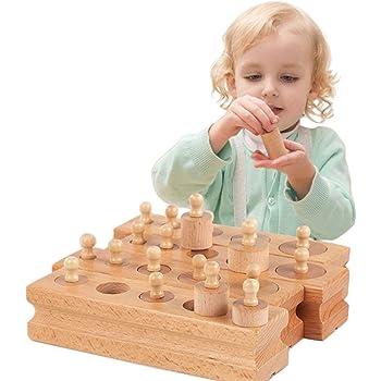kimurea select (キムレアセレクト) モンテッソーリ 幼児 教育 木製 知育玩具 シリンダー ブロック 円柱さし 4本セット おもちゃ