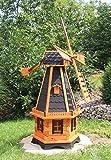 Große Windmühlen, Windmühle Holz behandelt Typ 23.1 und Solarbeleuchtung (groß Solar bunt, Schwarz)