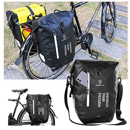 YSHUAI Waterproof Luggage Bag Porter Bag, Bicycle Rear Seat Luggage, Bicycle Pannier Rack, Bike Back Panniers, Bicycle Bag, Cargo Saddle Bag, Backpack, Side Pocket Reflective,Black