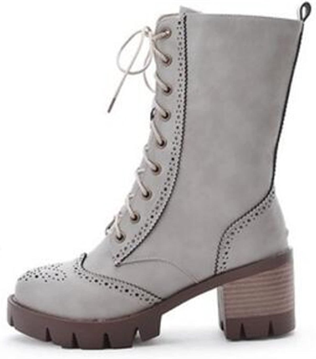 Robert Reyna Fashion Women's Round Toe Mid Calf Chunky Mid Heel Platform Lace-up Boots
