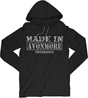 Retro Vintage Style Made in Pennsylvania, Avonmore Hometown Long Sleeve Hooded T-Shirt