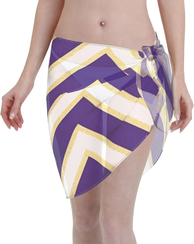 LSU Chevron Gameday Dress 4 Women Chiffon Beach Cover ups Beach Swimsuit Wrap Skirt wrap Bathing Suits for Women