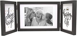 Afuly Three Picture Frame 4x6 and 5x7 Black Collage Hinged Folding Triple Photo Frames for Desk 3 Opening Family Valentines Gifts