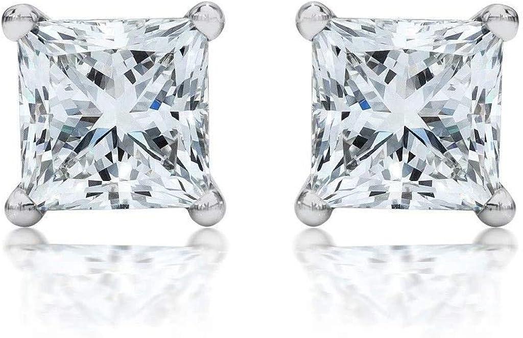 IGI Certified (1/2 Carat -1.00 cttw, E-F Color, VS1-VS2 Clarity, Push Back) 14K White Gold or Yellow Lab Grown Princess Cut Diamond Stud Earrings for Women by Stefano Navi
