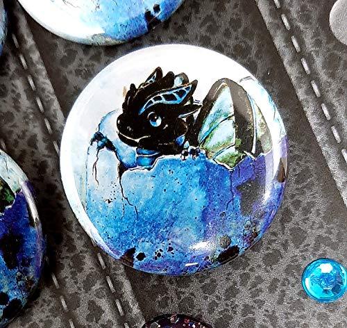 Drachen Button - Drachenbutton - Drachenei - Dinosaurier - süß - kawaii - Pin - Anstecker