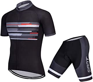 Pro Team Giant Cycling Jersey Team Uniform Black Blue Strip Jersey and Shorts Set Gel Padded and Breathable Cycling Suit