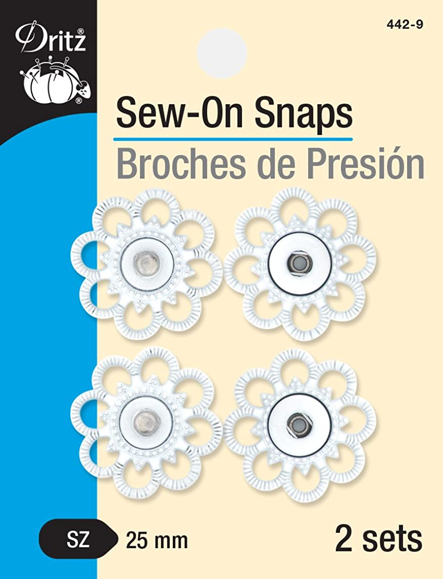Dritz 442-9 Sew-On Snaps with Flower Design, White, Size 25mm 2-Sets