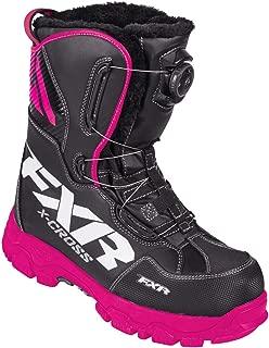 FXR X-Cross BOA Boot Authentic High Traction Fixed Liner Toe Kick Snowmobile - Black/Fuchsia - Womens 8.5