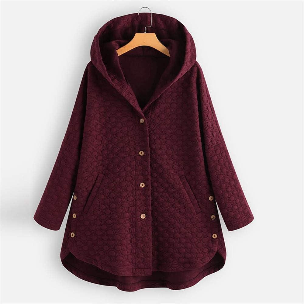 Libermall Womens Coat Long Sleeve Warm Plus Size Vintage Pure Color Button Asymmetrical Hem Hooded Coat Outwear Overcoat