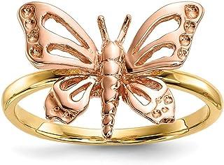 14ct bicolor pulido mariposa anillo