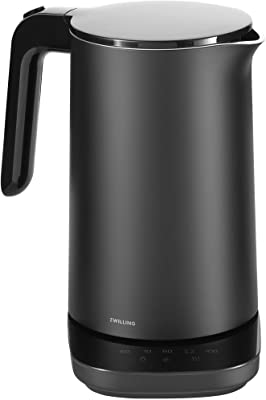 Zwilling Enfingy Cool Touch Electric Kettle Pro, 6 Preset Programs for Tea, Coffee, Baby Food Warmer and More, Cordless Tea Kettle, 1.5L, 1500W, Black