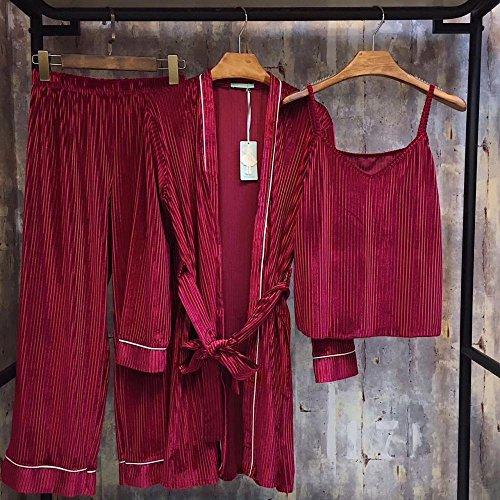 Herfst en Winter Pyjama Dames Pit Fluwelen Broek Lang-Sleeved Harnas Nachtjapon Drie-Stuk Thuis Service All code Rood
