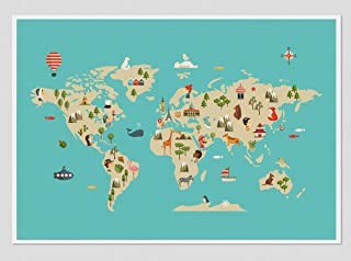 """Stampa"""" Mapa del mondo"""". Disponibile in tre misure: A3 / A2+ / A1+"""