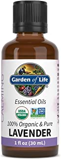 Garden of Life Essential Oil, Lavender 1 fl oz (30 mL), 100% USDA Organic & Pure, Clean, Undiluted & Non-GMO - for Diffuser, Aromatherapy, Meditation, Skincare, Sleep - Calming, Relaxing, Soothing