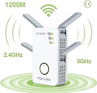 Repetidor WiFi, AC 1200Mbps Extensor WiFi, Amplificador WiFi Doble Banda 2.4GHz y 5GHz con Repertidor/Router/WPS/Ap/Cliente Modo