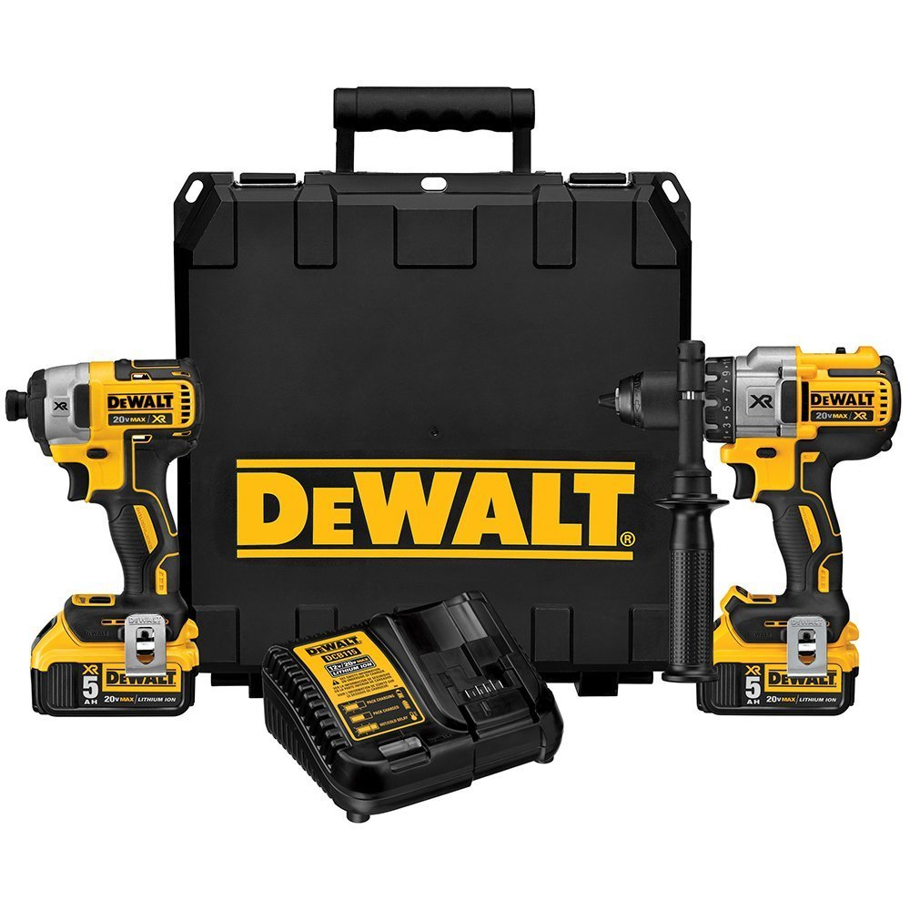 디월트 DCK299P2 20V 해머 & 임팩트 드릴 콤보 키트 (110볼트, 변압기 필요) DEWALT 20V MAX XR Cordless Drill Combo Kit, Brushless, 50-Ah, 2-Tool (DCK299P2)