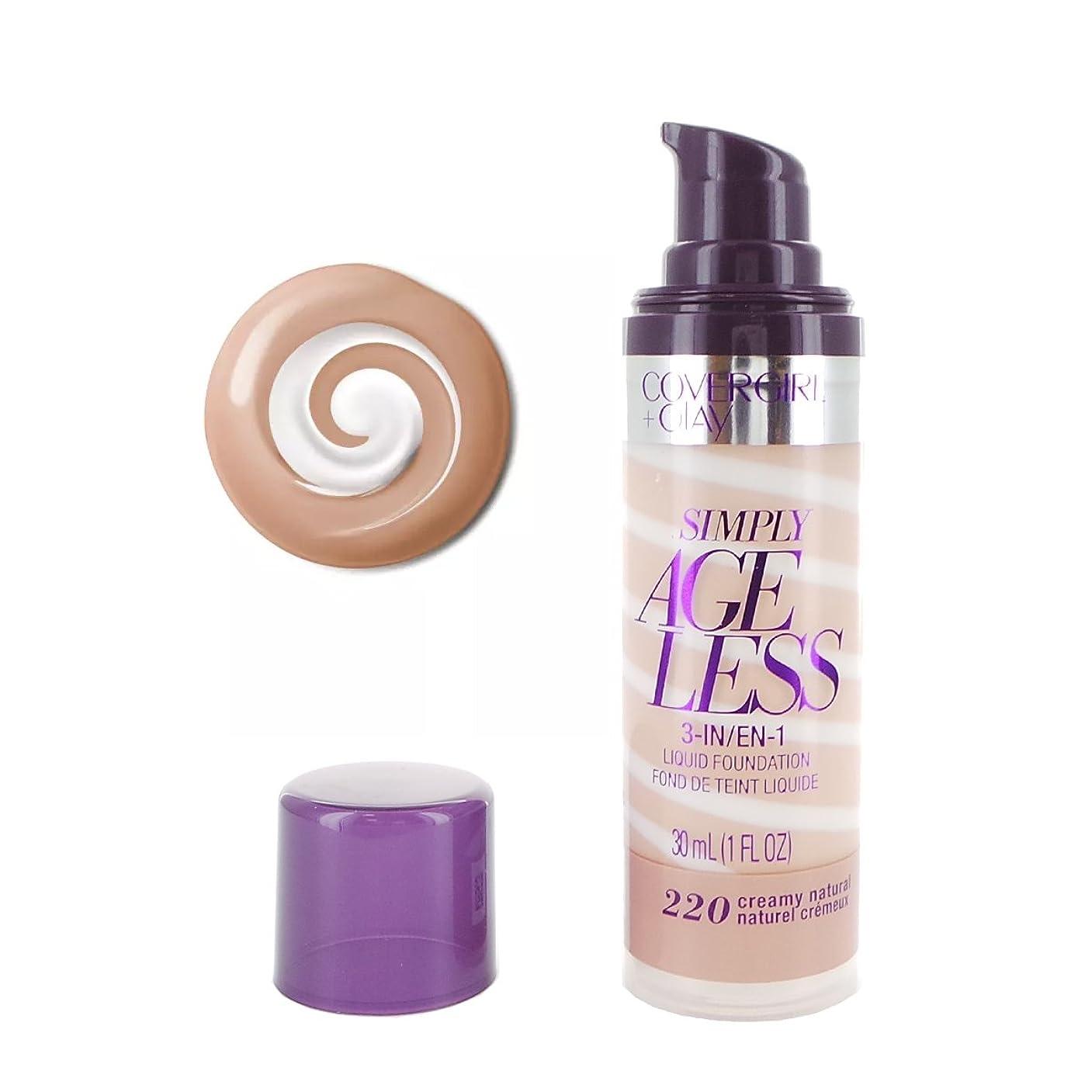 ヘビしないでくださいファイナンス(3 Pack) COVERGIRL Simply Ageless 3-in-1 Liquid Foundation - Creamy Natural 220 (並行輸入品)